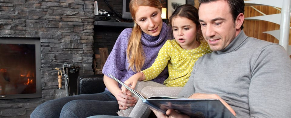Happy family reading